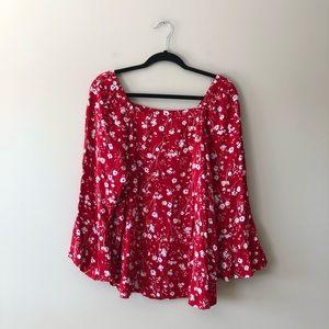 Liz Claiborne red floral print top